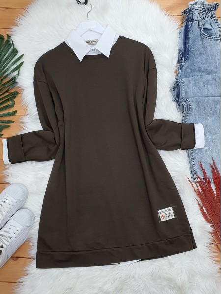 Crew Neck Rigged Detailed Slit Sweat -Brown