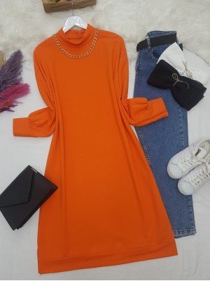 Chain Detailed Slit Long Combed Cotton Tunic -Orange