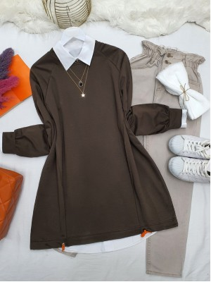 Crew Neck Skirt Tied Loose Tunic -Brown