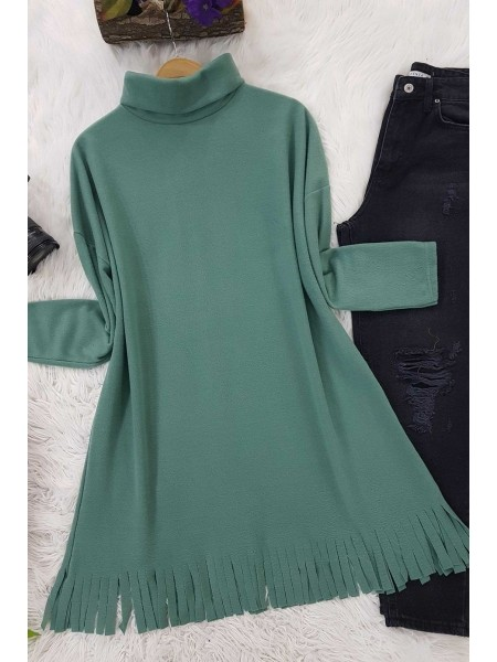 Turtleneck Tunic With Tasseled Skirt -Mint Color