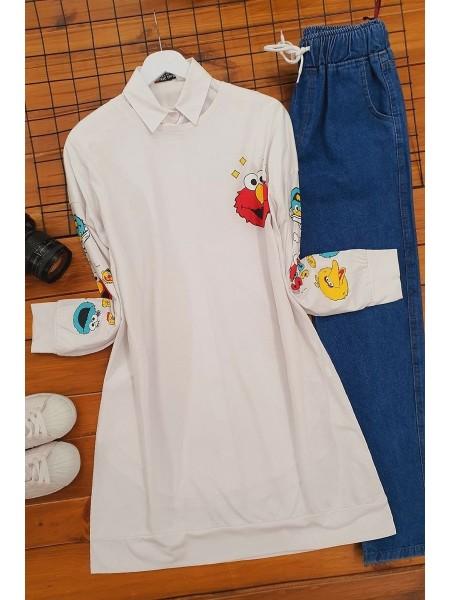 Cartoon Character Printed Sweatshirt -White