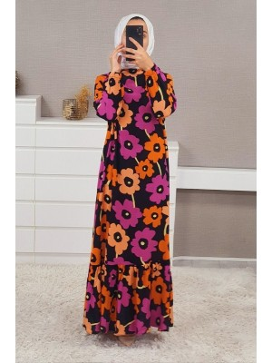 Mixed Printed Long Dress  -Cherry Color