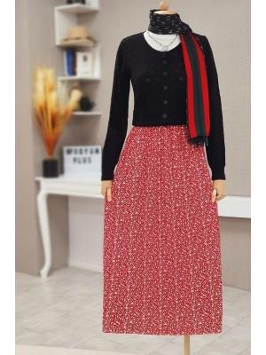 Floral Waist Elastic Skirt -Red