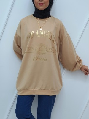 Crew Neck Printed Double Pocketed Loose Tunic -Mink color