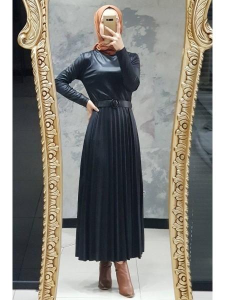 Pleated Jersey Dress -Black