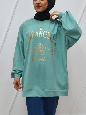 Crew Neck Printed Double Pocketed Loose Tunic -Mint Color