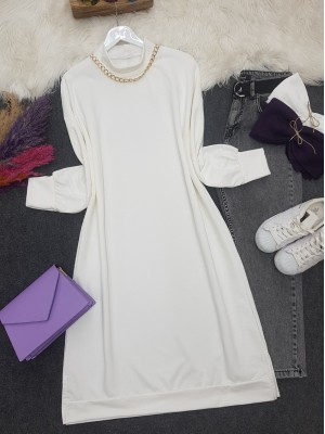 Chain Detailed Slit Long Combed Cotton Tunic -White