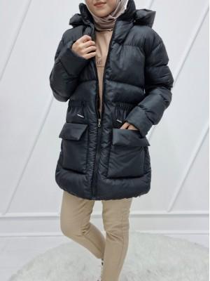 Hooded Elastic Waist Double Pocket Inflatable Coat -Black