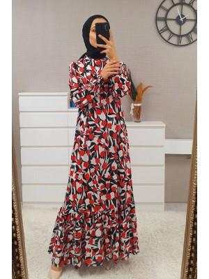 Mixed Printed Long Dress -Red