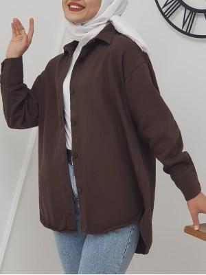 Button Down Front Short Gabardine Shirt Jacket -Brown