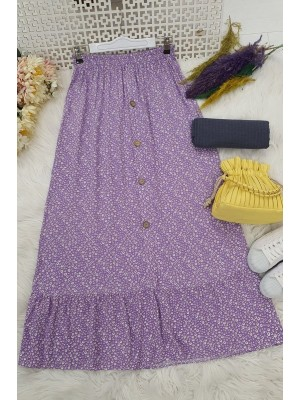 Button Front Skirt -Lilac