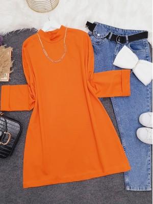 Half Turtleneck Folded Sleeves Straight Sweat -Orange