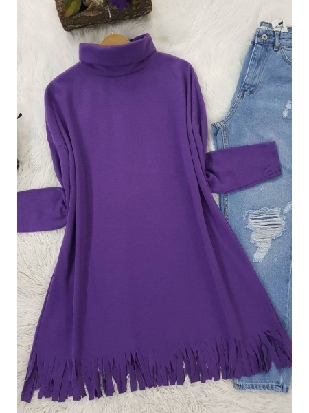 Turtleneck Tunic With Tasseled Skirt -Lilac