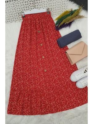 Button Front Skirt -Garnet Color