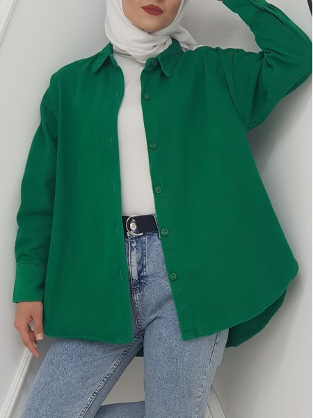Button Down Front Short Gabardine Shirt Jacket -Emerald