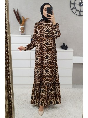 Mixed Printed Long Dress -Mink color