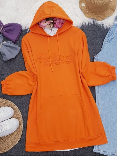 Hooded Embossed Written Kangaroo Pocket Sweat -Orange