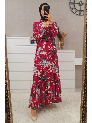 Mixed Printed Long Dress -Fuchsia