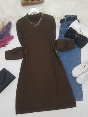 Chain Detailed Slit Long Combed Cotton Tunic -Brown