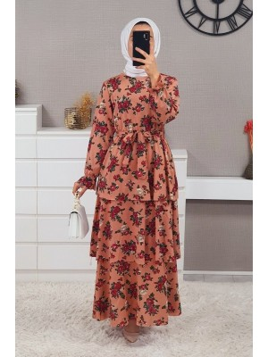 Layered Belt Dress -Dried rose