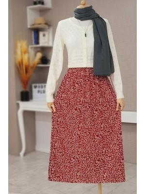 Floral Waist Elastic Skirt -Maroon