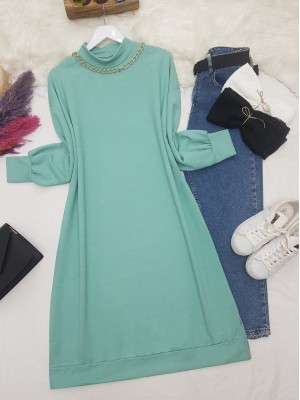 Chain Detailed Slit Long Combed Cotton Tunic -Mint Color