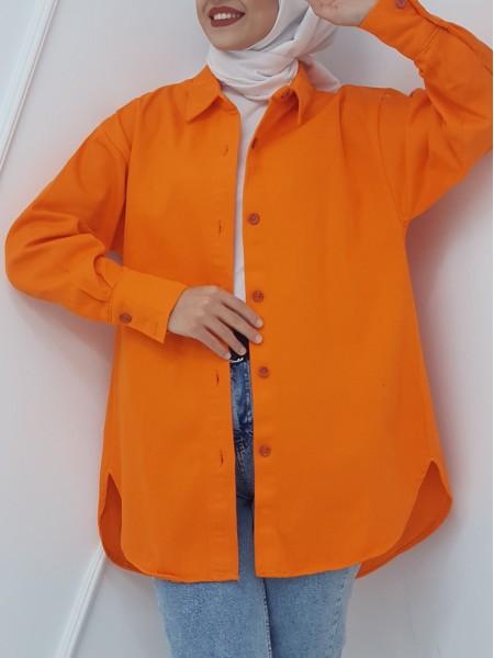 Button Down Front Short Gabardine Shirt Jacket -Orange