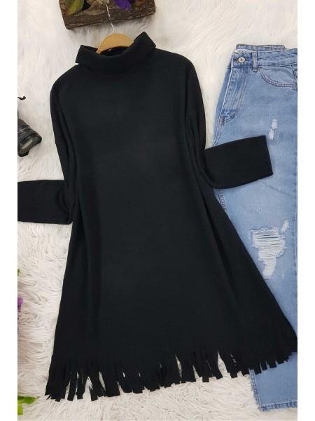 Turtleneck Tunic With Tasseled Skirt -Black