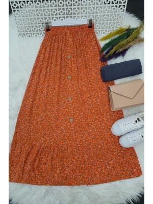 Button Front Skirt -Orange