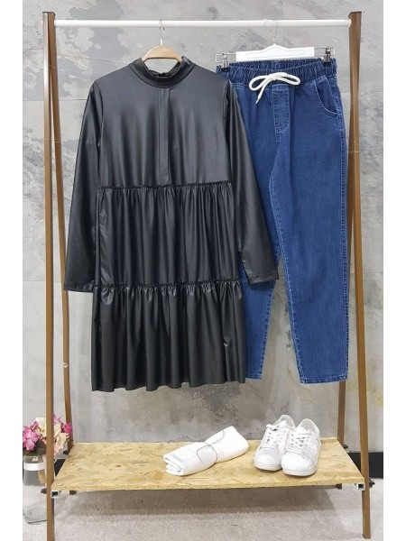 Leather Piece Tunic -Black