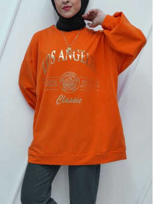 Crew Neck Printed Double Pocketed Loose Tunic -Orange