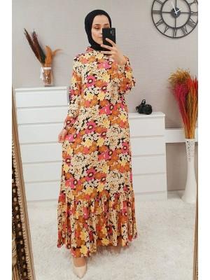 Mixed Printed Long Dress -Yellow