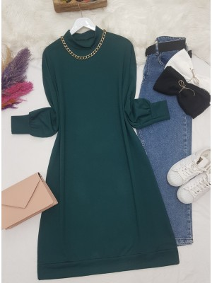 Chain Detailed Slit Long Combed Cotton Tunic -Emerald
