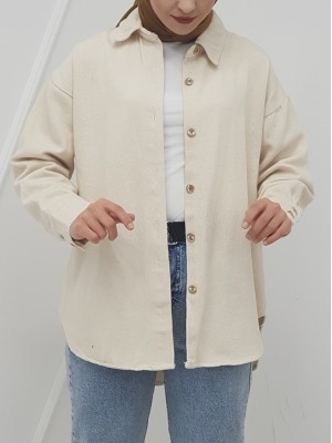 Button Down Front Short Gabardine Shirt Jacket -Stone