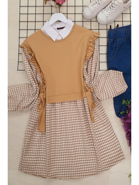 Combed Detailed Plaid Tunic -Mink color