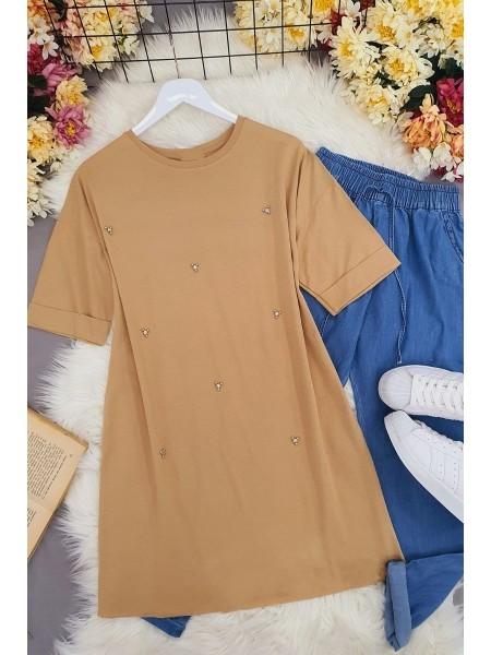 Stone Slit T-Shirt -Mink color