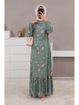 Mixed Printed Long Dress  -Salmon