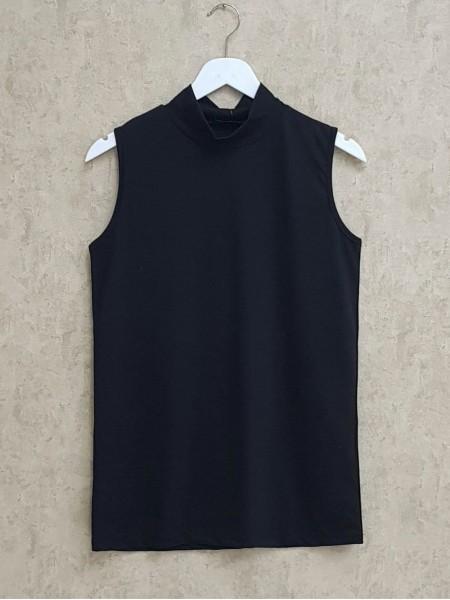 Half Neck Zero Sleeve Underwear -Black