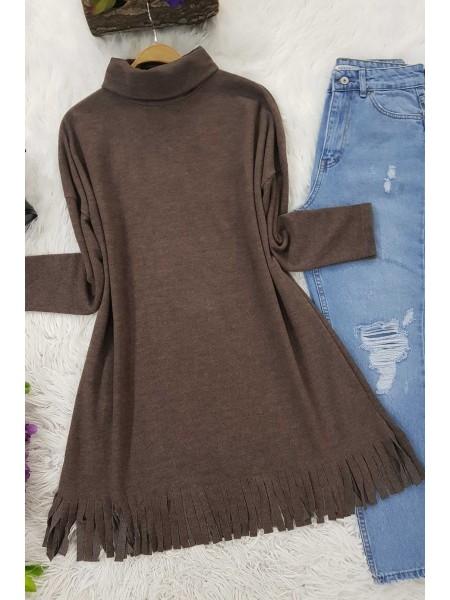 Turtleneck Tunic With Tasseled Skirt -Brown