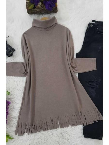 Turtleneck Tunic With Tasseled Skirt -Mink color