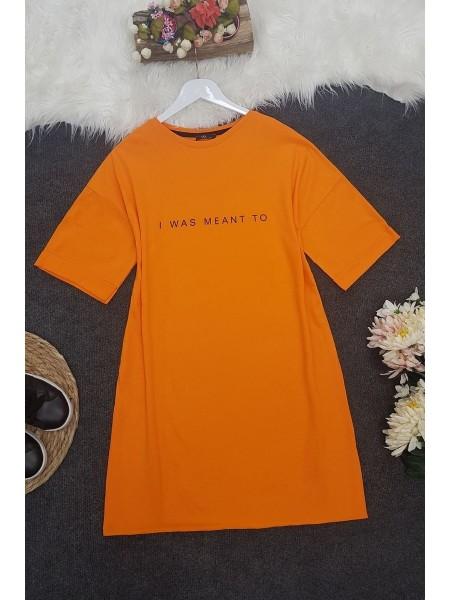 Short Sleeve Slit Tunic -Orange