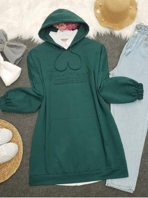 Hooded Embossed Written Kangaroo Pocket Sweat -Emerald