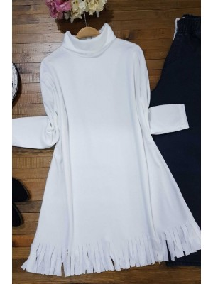 Turtleneck Tunic With Tasseled Skirt -White