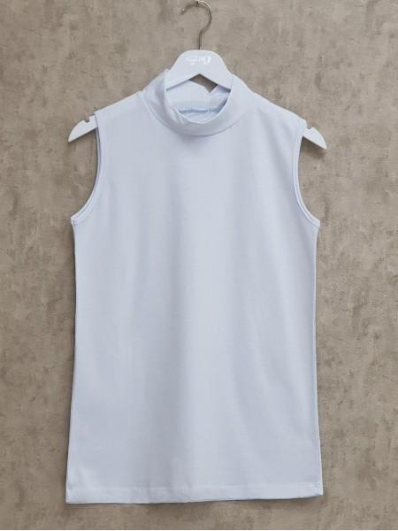 Half Neck Zero Sleeve Underwear -White