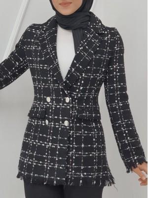 Pocket Detailed Jacket with Fringed Sleeves and Skirt -Black
