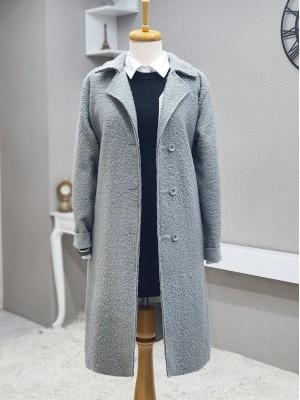 Three Button Shawl Collar Mid-Length Cap -Grey