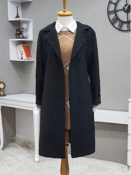 Three Button Shawl Collar Mid-Length Cap -Black