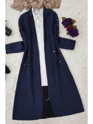 Buttoned Suede Cape -Navy blue