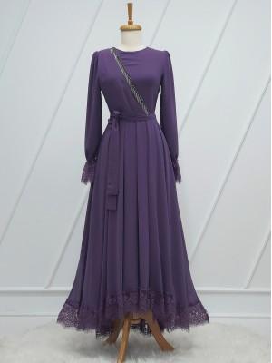 Stone Tassel Detailed Guipure Belt Chiffon Dress - Purple