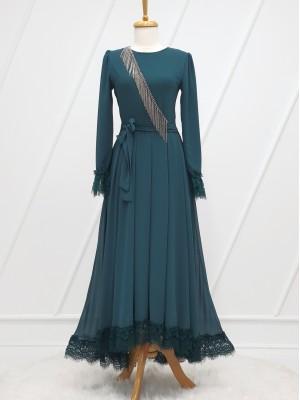Stone Tassel Detailed Guipure Belt Chiffon Dress -Emerald